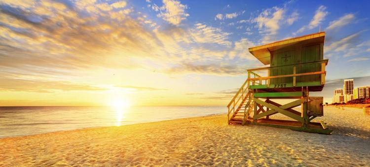 Miami south beach sunrise in Florida